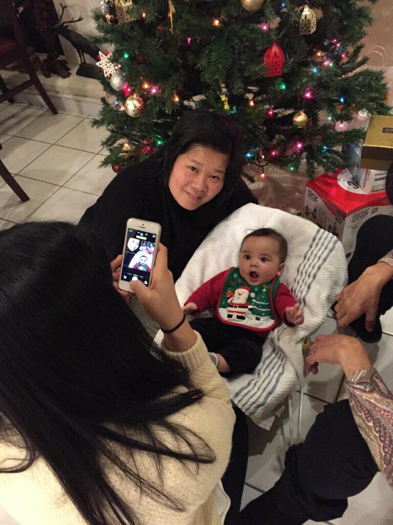 Diana meeting grandnephew Teddy 2014